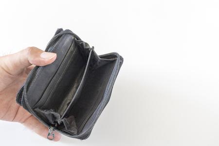 Portafoglio vuoto e mano d'uomo