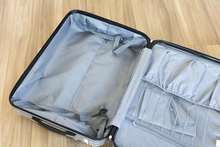 Indoor silver suitcase
