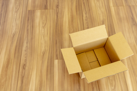 Room of newly built house and cardboard box Foto de archivo