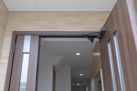 The entrance of a newly built house