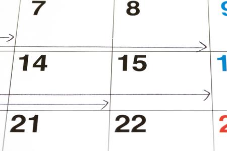 Horizontal arrow written on the calendar