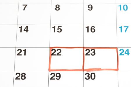 Mark written on the calendar