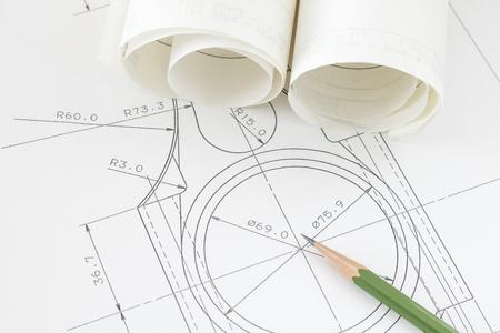 Design image of mechanical drawing Stockfoto