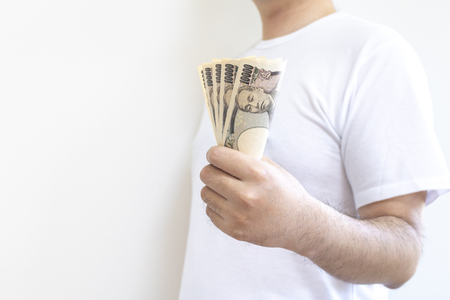 Men with a Japanese bill Stock Photo