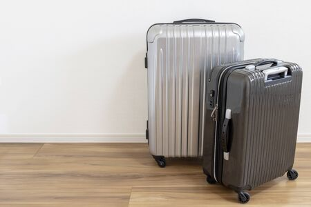 Two types of suitcases lined up