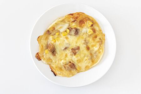 Freshly baked homemade teriyaki chicken pizza Banco de Imagens