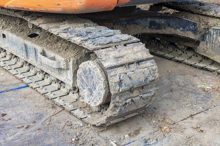 Close up of heavy equipment caterpillar