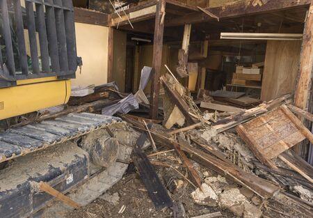 Demolition of old wooden house in Japan Foto de archivo