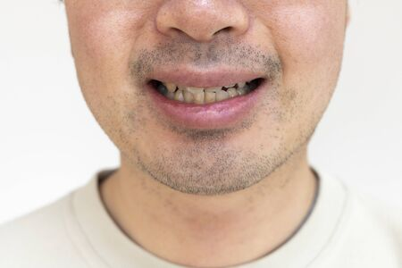 Mouth of a stubble man 版權商用圖片