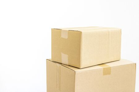 Photograph of stacked cardboard boxes Stock Photo
