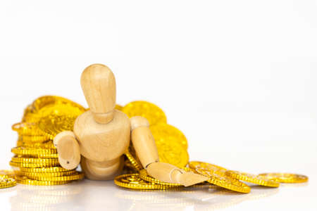Drawing doll and lots of gold coins, white background, tax payment image