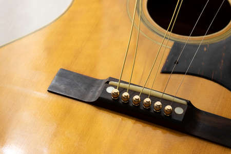 Image of exchanging strings on an acoustic guitar