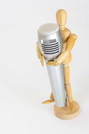 Drawing doll and microphone. Image of music