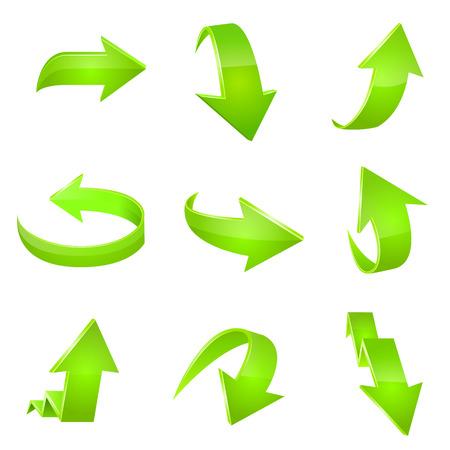 녹색 화살표 아이콘입니다. 벡터 스톡 콘텐츠