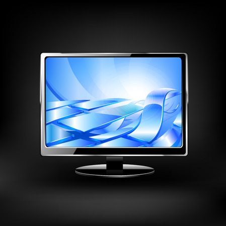 lcd: Vector lcd monitor isolated on white background.