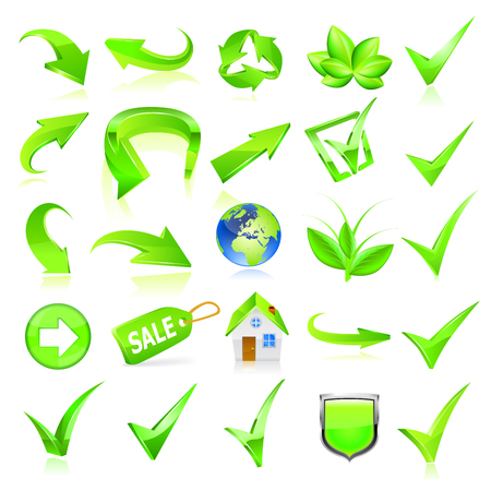 Green web elements set. Stock Illustratie