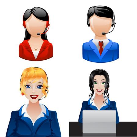Los operadores de telefonía del cliente. Ilustración de vector