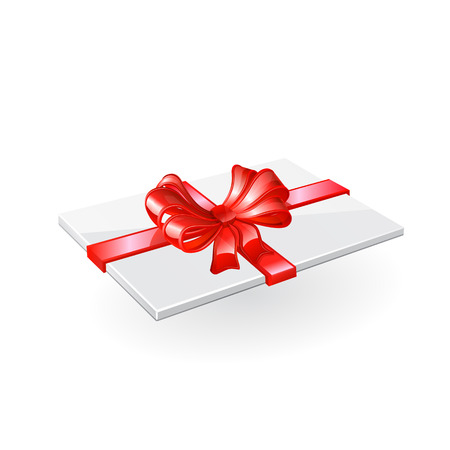 annotation: Envelope with red ribbon and bow. Illustration
