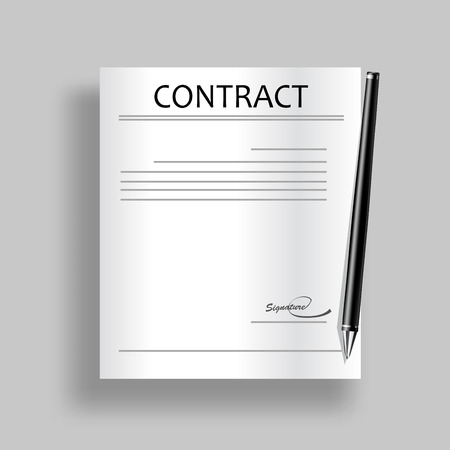 autographing: Contract icon. Vector. Illustration