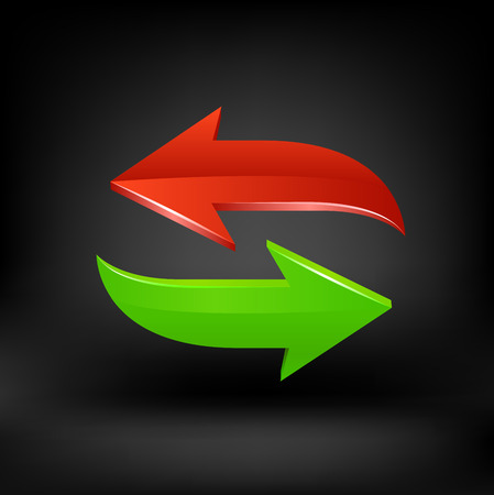 Green and red arrow. Vector Çizim