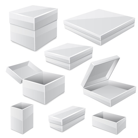 product box: White boxes isolated on white. Vector