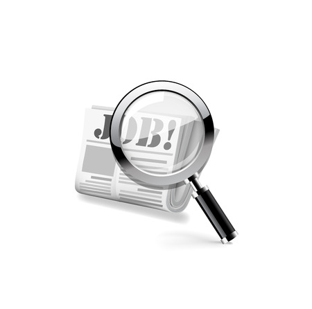 classifieds: Magnifying glass over a newspaper. Vector
