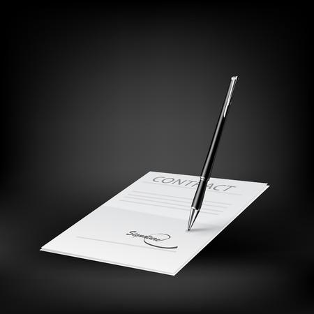 pacto: Icono de contracci�n. Vector Vectores