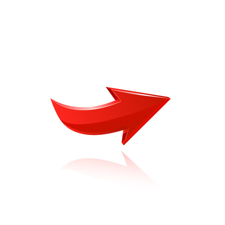 three dimensional shape: Red arrow. Illustration