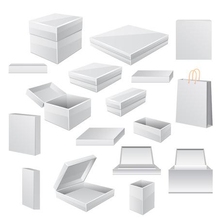 White boxes isolated on white.