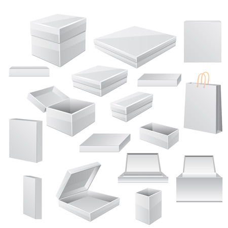 White boxes isolated on white.