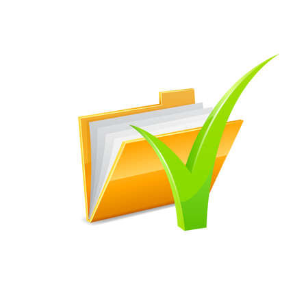 green check mark: Yellow folder icon with green check mark isolated on white