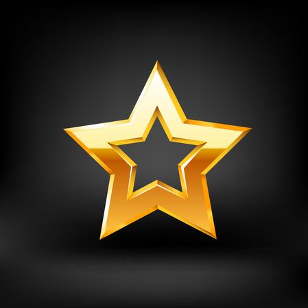 red carpet background: Gold star vector.illustration on black background