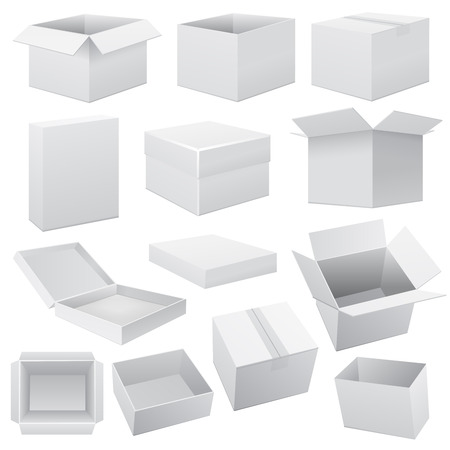 white boxes: Box set. Vector Web on white illustration