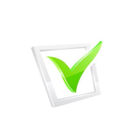 10eps: Vector green checkmark on white background 10eps.