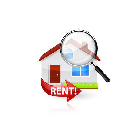 home search: Home search icon. Vector illustration on white background. Illustration