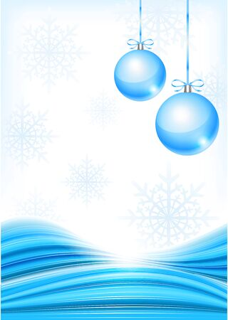 glimmer: Vector winter background with beautiful various snowflakes and christmas balls