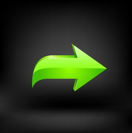 Green arrow. Vector illustration on black background 10 eps.