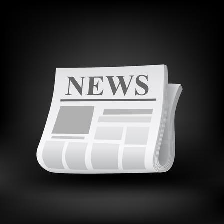newspaper icon: Newspaper icon. Vector illustration on black background.