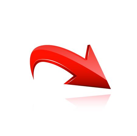 flecha: Flecha roja. Ilustración vectorial sobre fondo blanco