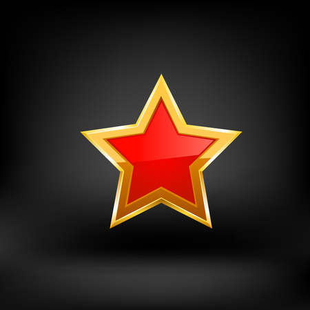 hollywood christmas: red star vector on black background illustration. Illustration