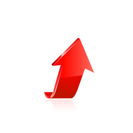 upward movements: Red arrow. Vector illustration on white background