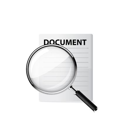 scrutinize: Magnifying glass. Vector illustration on white background.