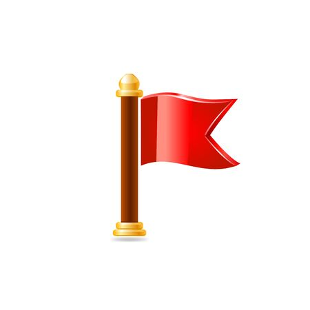 Red flag. Vector illustration on white background. Illustration