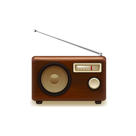 frequency modulation: Old retro wooden radio. Vector illustration on white background.
