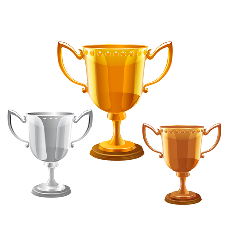 small group of objects: trophy vector set illustration on white background.