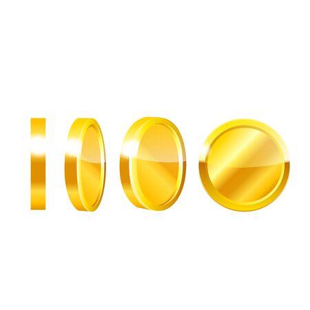 Monedas de oro en blanco illustartions del vector del fondo.