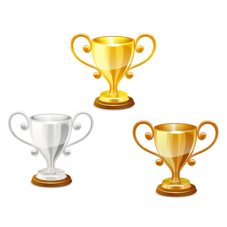 small group of objects: trophy set vector illustration on white background Illustration