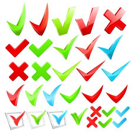yes check mark: Vector checkmark set vector illustration on white background Illustration