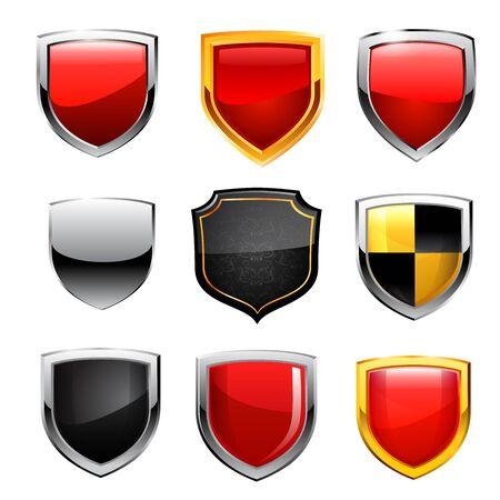 shield set: shield set illustration on white background.