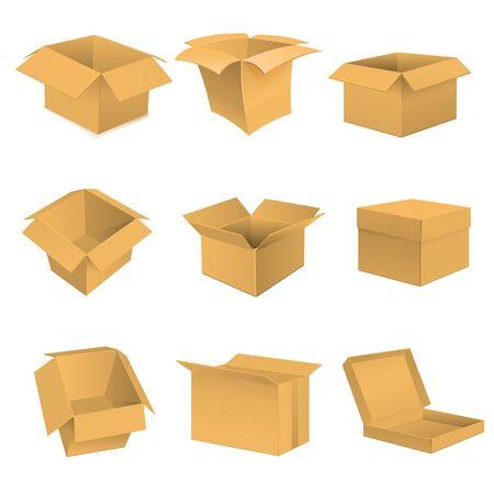 package sending: Box set. Vector illustration on white background. Stock Photo